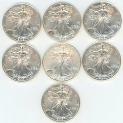 7 Gem BU 2005 $1 American Silver Eagles