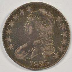 Very colorful 1825 Capped Bust Half Dollar in XF