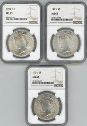 3 Diff. Gem BU Peace Silver Dollars 1922-1924. NGC MS65