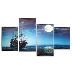 Modern Canvas Print Painting Home Decor Blue Sea Boat