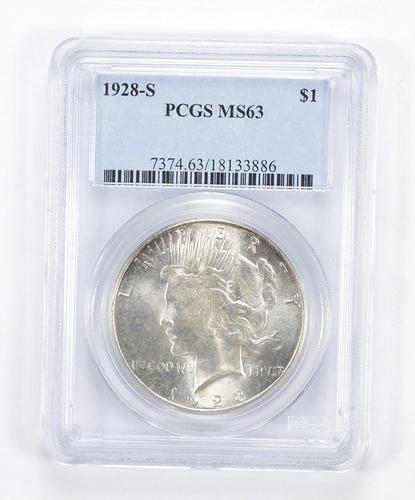 MS63 1928-S Peace Silver Dollar - Graded PCGS