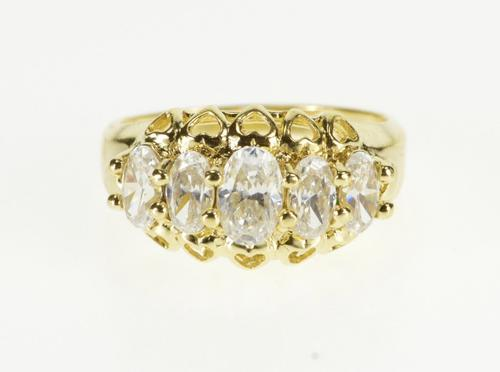 14K Yellow Gold Five Stone Oval Cubic Zirconia Heart Design Band Ring