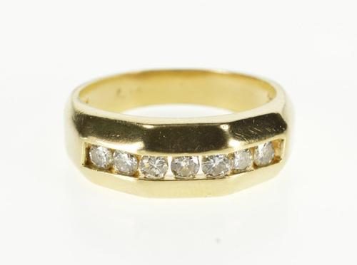 14K Yellow Gold 0.42 Ctw Diamond Channel Inset Wedding Band Ring