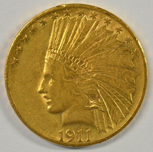 Attractive 1911 US $10 Indian Gold Piece
