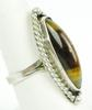 Elongated Sterling Silver Tiger Eye Ring, Size 8