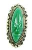 Vintage Sterling Green Onyx Carved Face Ring, 6.75