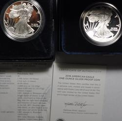 1996  P And 2016  W  Proof Silver Eagles With Boxs and Papers
