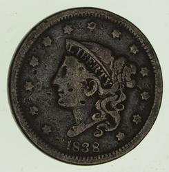 1838 Young Head Large Cent - Circulated
