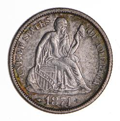 1874 Seated Liberty Silver Dime - Sharp