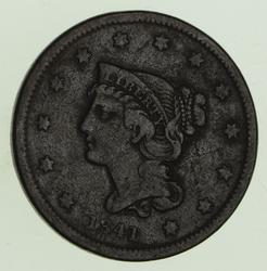 1841 Braided Hair Large Cent - Circulated