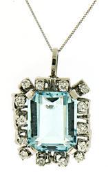 Fantastic Aquamarine and Diamond Necklace