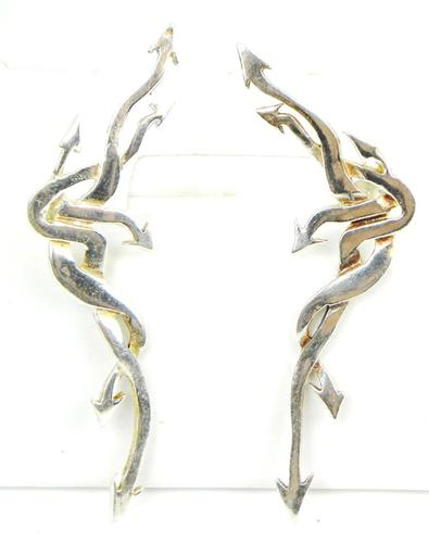 Signed Large Sterling Silver  Abstract Arrow Earrings