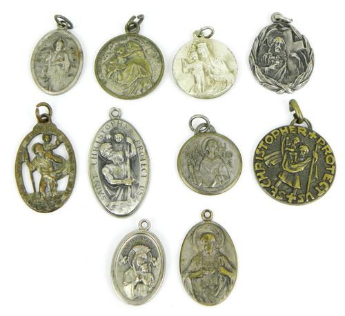 Lot of 10 Early Religious Medals