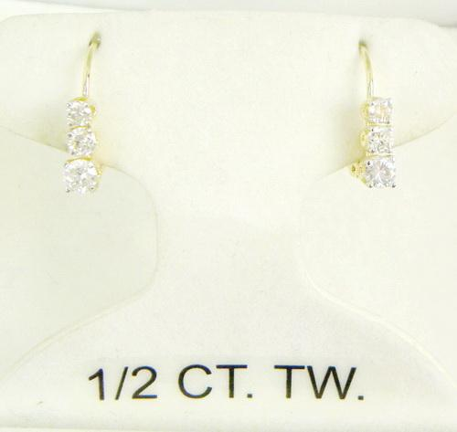 14K Graduated Diamond Drop Earrings