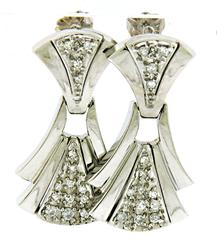 Gorgeous Diamond Fan Dangle Earrings