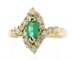 Fantastic Marquise Emerald and Diamond Ring