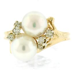 Amazing Double Pearl and Diamond Accent Ring