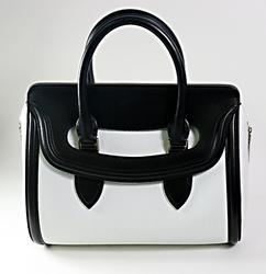 Alexander Mcqueen Heroine Black & White Leather Satchel