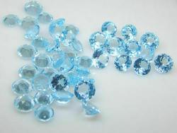 Set of 3 Round Natural Blue Topaz Loose Gemstones