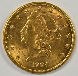 Very Choice BU 1904-S US $20 Liberty Gold Piece