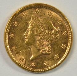 Lustrous BU 1853 Type One $1 Gold Piece. Nice