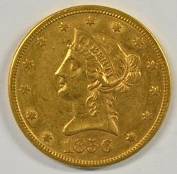 Very scarce AU 1856-S No Motto $10 Liberty Gold Piece