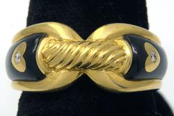 Rope Motif Gold & Diamond Accent Band, 18KT