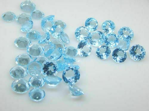 Set of 3 Round Natural Blue Topaz Loose Gemstones