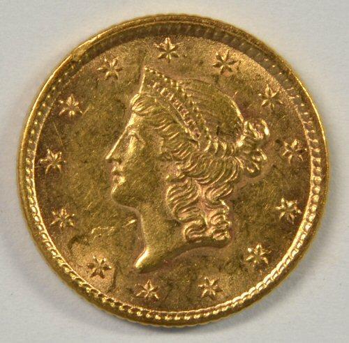 Lustrous BU 1853 Type One $1 Gold Piece. Nice