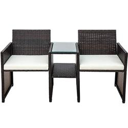Wicker Patio Furniture Set Rattan Chair Coffee Table