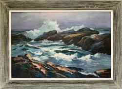 Vintage Shore Scene Original Oil On Canvas