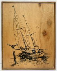 Vintage Original Ink On Board of a Full Rigged Pinnace