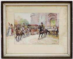 Vintage Royal Engraving City Scene