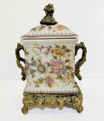 Floral Urn with Metal Base and Handles