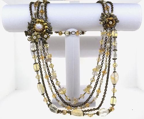 1940's Citrine & Pearl Torsade Necklace