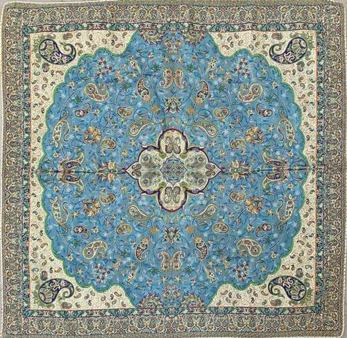 Blue Hand Woven Tapestry From Yazd Iran