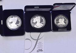2005 & 2007 Proof Silver Eagles and 2003 FF Silver $ Commem