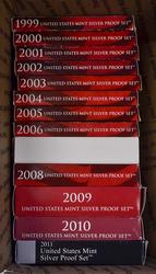 1999-2011 Silver US Proof Set Run