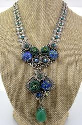 Unique & Stunning Blue Roses Necklace