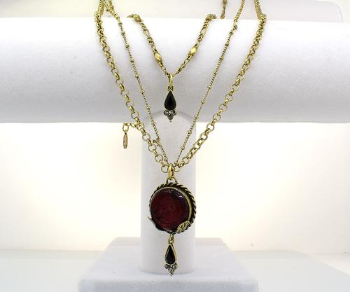 Long Glass Intaglio Necklace