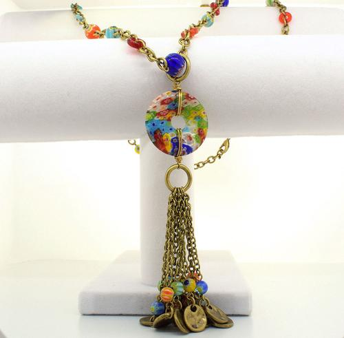 Millefiori Glass Candy Tassel Necklace, 34 inches