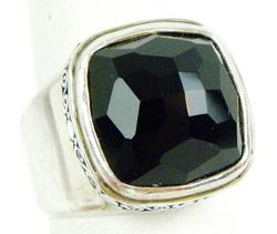 Big & Chunky Sterling Ring with Faceted Onyx, 7