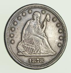 1878-CC Seated Liberty Quarter -Sharp
