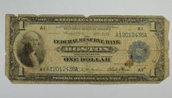 1914 $1.00 Boston Federal Reserve Bank Note Large Horseblanket Note