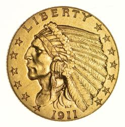 1911-D $2.50 Indian Head Gold Quarter Eagle - Choice