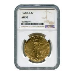 Certified $20 St Gaudens 1908-S AU55 NGC