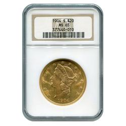 Certified US Gold $20 1904-S MS65 NGC