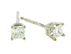 Classic Princess Cut Diamond Stud Earrings