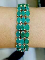 Mega 40 CTW Emerald Tennis Bracelet, 14kt Gold