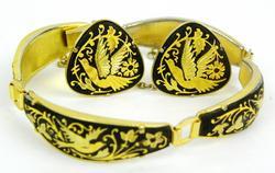 Vintage Damascene Bracelet & Earrings
